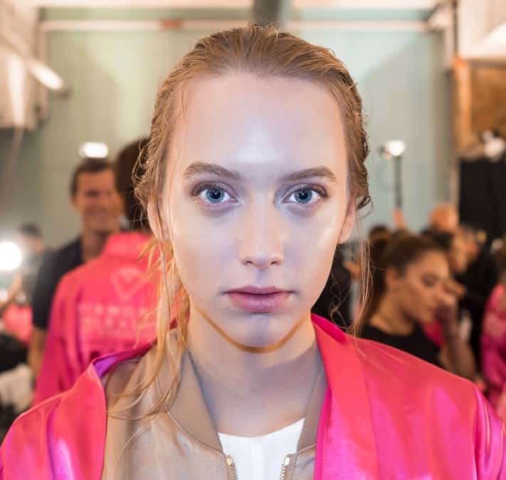 Controlled shine backstage at the Dennis Basso Spring 2016 show, New York Fashion Week