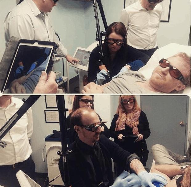 Laser tattoo removal training in progress at IBI