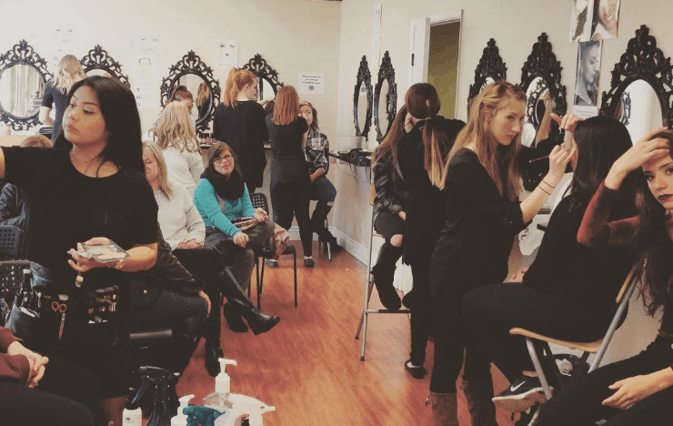 Makeup Diploma students practice their application techniques