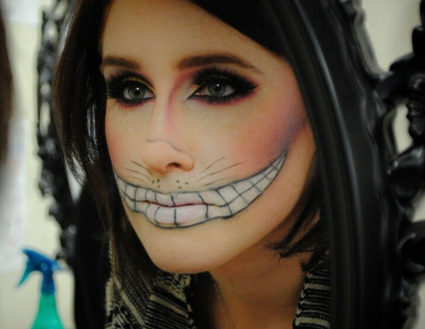 A Cheshire Cat transformation taking place in the IBI makeup and beauty school
