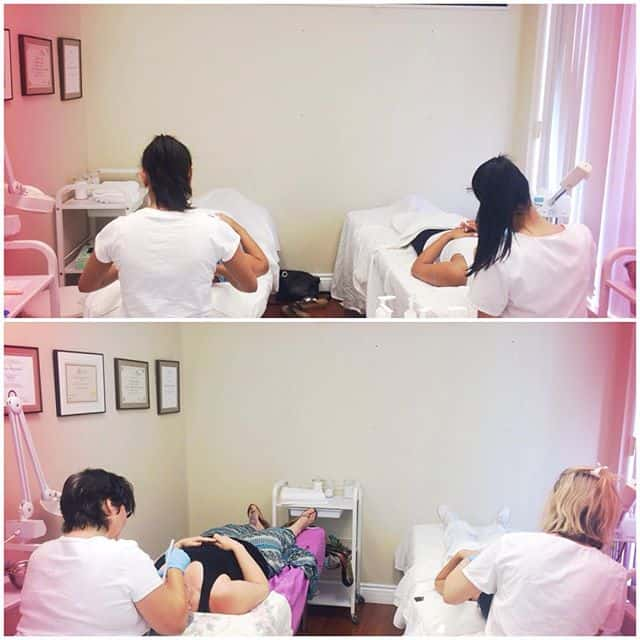 Students practice microdermabrasion treatments through hands-on training at IBI