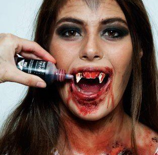 An IBI student uses fake blood to create this creepy vampire look