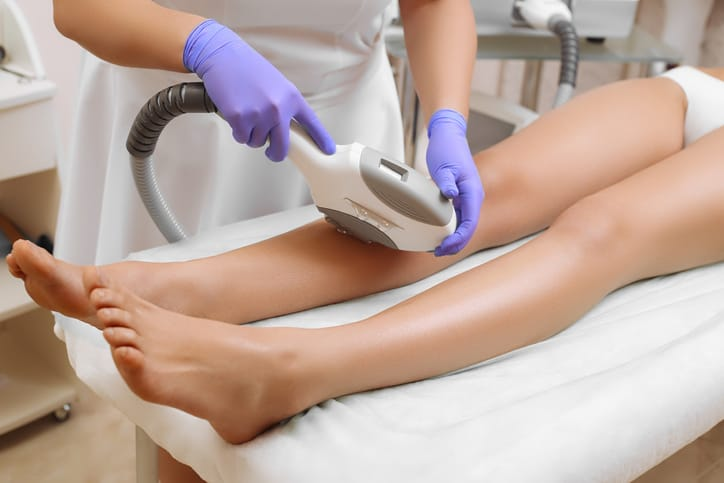 Laser epilation and cosmetology. Hair removal cosmetology procedure. Cosmetology and SPA concept.