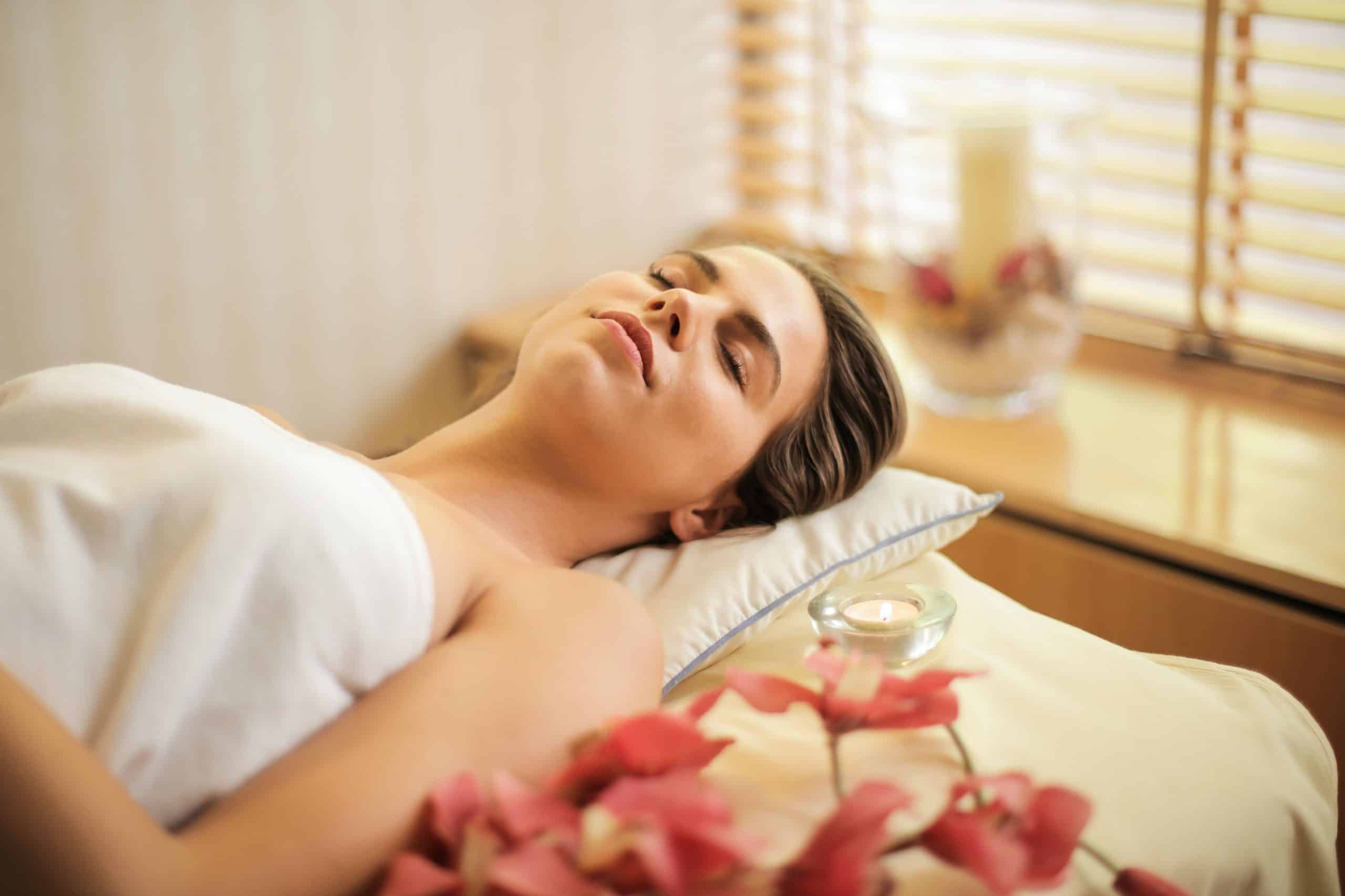 Woman at spa relaxing